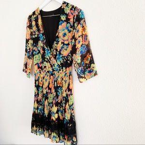 ASOS Dresses - ASOS Black Floral Pleated Lace Dress